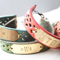 Custom Monogram Leather Bracelet