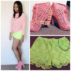 .@Genecia Stinson | Coral Booties + Neon Crochet Shorts • @AMIClubwear Wanna get these items? Sho... | Webstagram