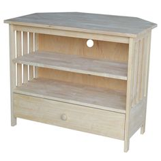 International Concepts Unfinished Mission Corner TV Stand at The Home Depot - Mobile Small Corner Tv Stand, Corner Tv Mount, Corner Tv Stand Ideas, Corner Tv Console, Corner Shelf, Tv Stand Room Divider, Tv Stand Furniture, Pallet Furniture, Painted Furniture