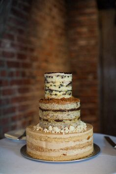 Naked tiered cake with different types of cake?!