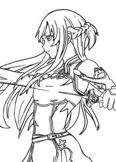 Image result for coloring girl  asuna