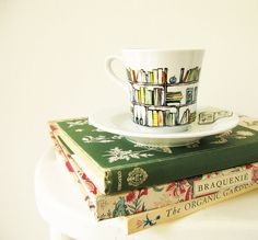 Hand drawn and painted porcelain teacup and saucer - Book-A-Holic