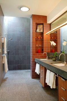 I would love to have a walk-in shower like this. No doors or shower curtain to contend with.: