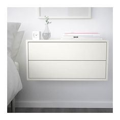 Could make a long walk of storage/desk with EKET Cabinet with 2 drawers, white - white - IKEA Ikea Eket, Painted Drawers, Style Deco, New Room, New Furniture, Ikea White Furniture, Luxury Furniture, Small Spaces