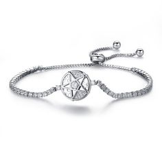 Fashion exquisite jewelry round diamond Plated Platinum Bracelet women can adjust the bracelet fine