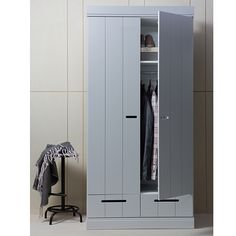Connect wardrobe with 2 convenient drawers (equipped with sturdy metal drawer guides). The hull of the CONNECT cabinet is made of solid pine. The inside is equipped with laminated shelves, practical with cleaning! The CONNECT ward Childrens Wardrobes, Small Wardrobe, 2 Door Wardrobe, Wardrobe Sale, Retro Cabinet, Locker Storage, Wardrobe Room, Metal Drawers, Storage Drawers