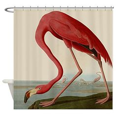 CafePress Exquisite Vintage Flamingo Decorative Fabric Shower Curtain *  Learn More By Visiting The Image Link
