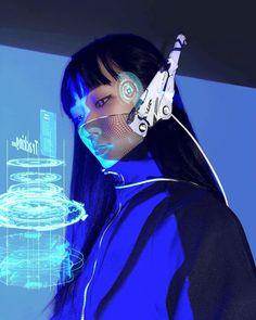 'Cyber girl' Sticker by StolzeArt Arte Cyberpunk, Cyberpunk Aesthetic, Cyberpunk Girl, Cyberpunk Character, Cyberpunk Fashion, Steampunk Fashion, Gothic Fashion, Character Inspiration, Character Art