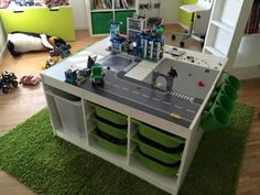Lego Tisch Lego table Lego table with Trofast Lego Storage, Ikea Storage, Table Lego, Trofast Ikea, Lego Room, Lego Boys Rooms, Playroom Organization, Playroom Ideas, Toy Rooms