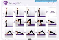 20-Minute Yoga (Day) – Class 1: Energising  All sorts of great classes with printables