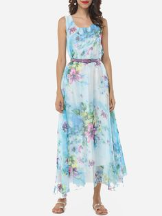 Flowing Round Neck Floral Chiffon Maxi Dress