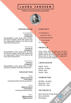 If you like this cv template. Check others on my CV template board :) Thanks for sharing! Creative Cv Template, Cv Resume Template, Resume Design Template, Resume Cv, Resume Tips, Creative Resume, Creative Cv Design, Sample Resume, Design Resume