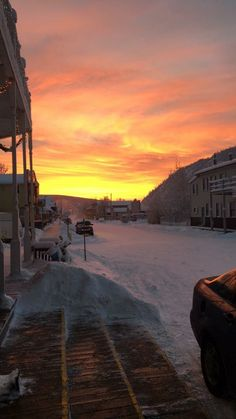 Beautiful winter sunset in Dawson City, Yukon from the Downtown Hotel
