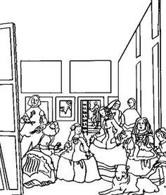 pequeos pinceles las meninas de velzquez para pintar - Famous Art Coloring Pages Picasso