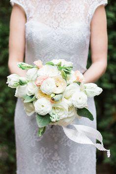 sweet bouquet by Ipomea Floral Design, photo by Photography Stylistas http://ruffledblog.com/elegant-parisian-styled-wedding #flowers #white #wedding