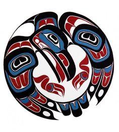 Looking Down by Yukie Adams - Click Image to Close Haida Kunst, Arte Haida, Haida Art, Arte Tribal, Tribal Art, Sailor Jerry, Haida Tattoo, Sketch Manga, Native American Symbols