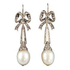 Victorian Natural Pearl and Diamond Earrings circa 1880