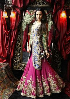The selection of party wear Lehenga collection by marital brides is special and of different cost range. In this bridal collection 2013 by bridals stylish Lehenga styles are intricate. Party wear lehenga collection is made of admirable Jamar, Pakistani Wedding Dresses, Indian Dresses, Indian Outfits, Dress Wedding, Wedding Attire, Wedding Bride, Wedding Ideas, India Fashion, Asian Fashion