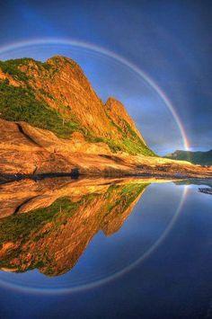 To reflect.Full Circle Reflected Rainbow, Senja, Troms, Norway