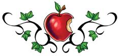Apple Tattoos and Designs Snow White Tattoos, Red Tattoos, Sweet Tattoos, Body Art Tattoos, I Tattoo, Tatoos, Game Design, Collage Tattoo, Apple Tattoo