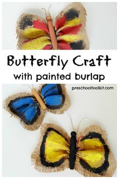 Butterfly kids painting activity using burlap and a clothes peg Butterfly Kids, Butterfly Painting, Butterfly Crafts, Kids Painting Activities, Painting For Kids, Activities For Kids, Fun Crafts, Crafts For Kids, Arts And Crafts