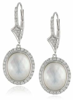 Badgley Mischka Fine Jewelry Sterling Silver Mother of Pearl Doublet with White Diamond Earrings