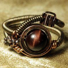 steampunk wire ring. red tiger eye.