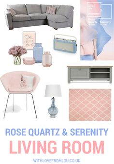 Spring/Summer Living Room Inspiration featuring Pantone's Color(s) of the year, Rose Quartz and Serenity. A truly beautiful combination. Rose Quartz Serenity, Kitchen Cabinet Colors, Kitchen Cabinets, Rustic Home Design, Home Organisation, Lounge Decor, Living Styles, Living Room Inspiration, Soft Furnishings