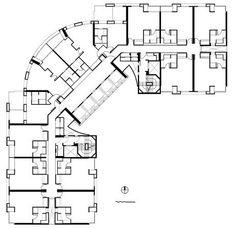 Planta tipo do Edifício de Flats Hoteleiros<br />Imagem dos autores do projeto