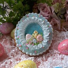 Blue Panoramic Easter Egg Cookie by Teri Pringle Wood