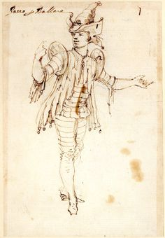 Costume study for a fool, formerly in an album; standing slightly to r with both arms extended, looking to l Pen and brown ink, over graphite
