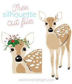 Free Christmas deer Silhouette Cut file from Fynes Designs