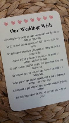 Wedding Gift Poem For Home Improvements : Wedding Gift Poem on Pinterest Wishing Well Poems, Wedding Poems ...