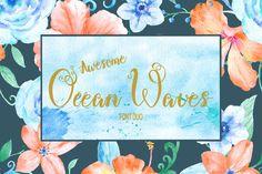 Ocean Waves Brush Font Duo  by Corner Croft on @creativemarket