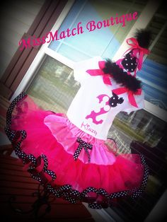 Adorable 1st, 2nd, 3rd, 4th, Birthday  Pink/ White Dot Minnie Mouse Outfit Embroidered. Tutu, Shirt and Boutique Birthday Hat.