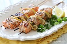Grilled Salmon Kebabs | Skinnytaste. -- made these for dinner tonight - absolutely delish!!  {jg}