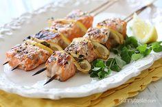 dinner, salmon kebab, grilled salmon, kabob, food