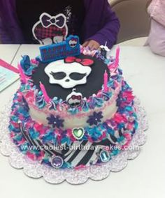 Homemade Monster High Birthday Cake: I made this Monster High birthday cake for my God Daughter who is just obsessed with the new cartoon series Monster High. I did a little research online