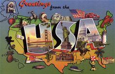 Vintage large-letter linen postcard