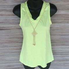 ‼️CLOSET CLOSING‼️ Ann Taylor LOFT lime green tank Awesome condition! Cute detailing around the neck. Perfect for underneath a cardigan or with a pair of shorts in the summer. 60% cotton 40% modal LOFT Tops Tank Tops