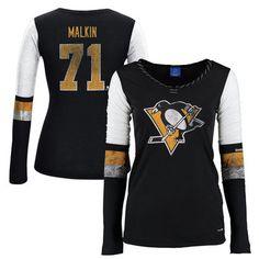 Women s Pittsburgh Penguins Evgeni Malkin Reebok Black Edge PlayDry Long  Sleeve Jersey T-Shirt 7825038e3