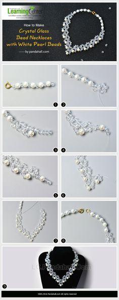 How to Make Crystal Glass Bead Necklaces with White Pearl Beads from LC.Pandahall.com