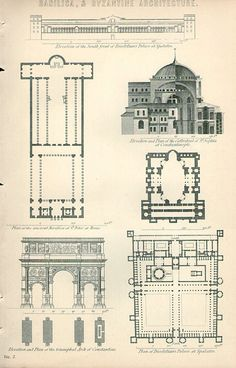This print of a Bascilica plans for development. I pinned this because it showed the detailed understanding of architecture during that time, as well as how the buildings were planned. Plans Architecture, Church Architecture, Classic Architecture, Antique Prints, Vintage Prints, Byzantine Architecture, Engraving Illustration, Tower Design, Architectural Prints