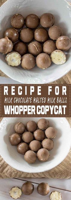 Malted milk balls recipe – Chocolate the whole family will love. The best part… Malted milk balls recipe – Chocolate the whole family will love. The best part… these candy treats require no baking. Discover the secret to a great Whopper copycat recipe. Chocolate Candy Recipes, Best Chocolate, Cake Chocolate, Chocolate Chips, White Chocolate, Chocolate Treats, Köstliche Desserts, Delicious Desserts, Truffles