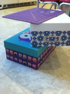 Duck tape boxes and set up. They are so cute got them at micheals for 2.50 each. Run to your micheals now because the sale might be over