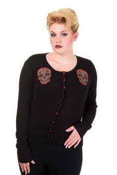 Banned Plus Size Black Sugar Skull Cardigan - Cbn302Blk Plus Sizes - Dark Fashion Clothing