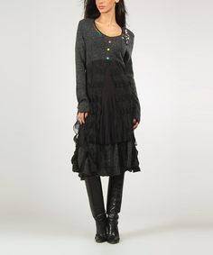 Love this Gray & Black Flora Dress by Charlotte & compagnie on #zulily! #zulilyfinds