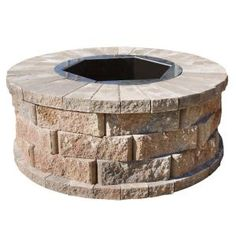 Pavestone 40 in. W x 16 in. H Rockwall Round Fire Pit Kit - Pecan from Home Depot