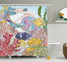 Mermaid Shower Curtain by Ambesonne, Hand Drawn Mermaid Creature Swinging on Rope on Coral Reefs in Underwater World Artwork, Fabric Bathroom Decor Set with Hooks, 70 Inches, Multi