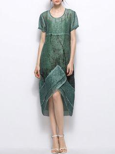 Shop Midi Dresses - Green Abstract Crew Neck Simple Asymmetric Midi Dress…